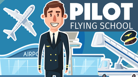 Illustration pour Pilot profession or flying school advertisement poster for aviation study. Vector cartoon aviator man in uniform and pilot cap, aircraft or airplane with passenger ladder at airport - image libre de droit