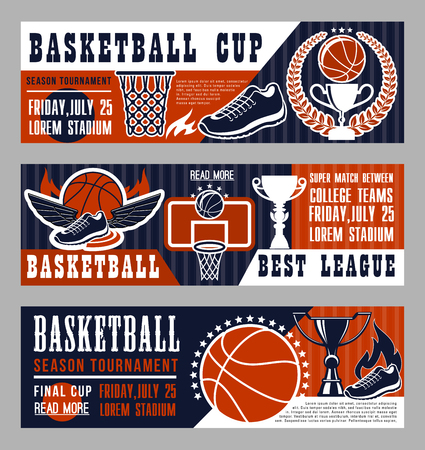 Ilustración de Basketball sport league banner with trophy cup and ball. Vintage brochure for basketball championship or tournament, team game on field. Sneakers with wings, basket and prize in laurel wreath vector - Imagen libre de derechos