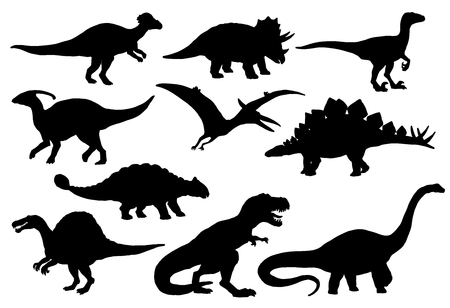 Illustrazione per Dinosaurs and Jurassic dino monsters icons. Vector silhouette of triceratops or T-rex, brontosaurus or pterodactyl and stegosaurus, pteranodon or ceratosaurus and parasaurolophus reptile - Immagini Royalty Free