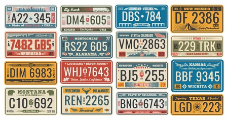 Photo for Car license retro cards official numbers for vehicle registration in USA states. Metal sign boards automobile plates with digits and letters, Nebraska and Alabama, Wichita and Texas, Colorado and Utah - Royalty Free Image