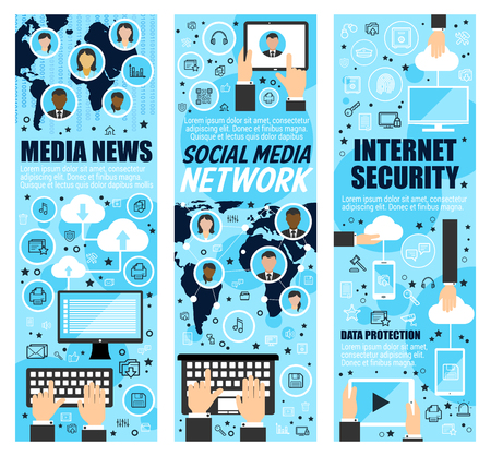 Illustration pour Media news and internet security banners. Social mass media and cloud web data protection. Vector computer and smartphone secure access, global information network - image libre de droit