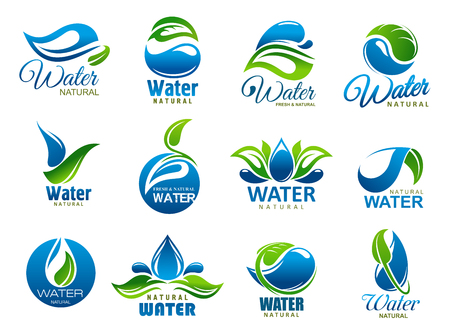 Ilustración de Water splash or drop and green leaf icons of natural or mineral drinking water. Vector blue waterdrops and nature plant symbols. Environment, bottle package or company identity theme - Imagen libre de derechos