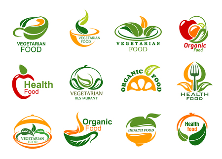 Illustration pour Vegetarian food icons, vegan cafe or eco food delivery company. Vector green veggie leaf or fruit and dish plate, cup symbols with fork and spoon. Organic healthy and fitness nutrition - image libre de droit