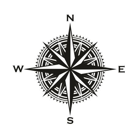 Illustration pour Navigation compass sign, Rose of Winds with direction arrows. Vector marine and nautical sailing cartography compass symbol with pointers to North, South, East and West - image libre de droit