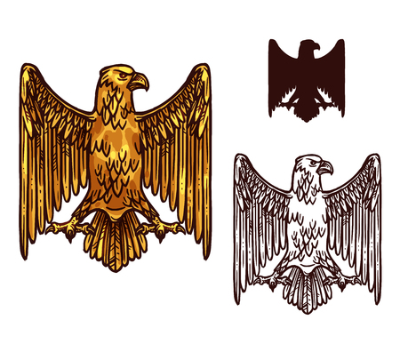 Illustration for Gothic eagle sketch icon of heraldic golden griffin with beak, spread wings and claws. Vector vintage gryphon vulture mystic bird silhouette for royal emblem, shield or coat of arms symbol - Royalty Free Image