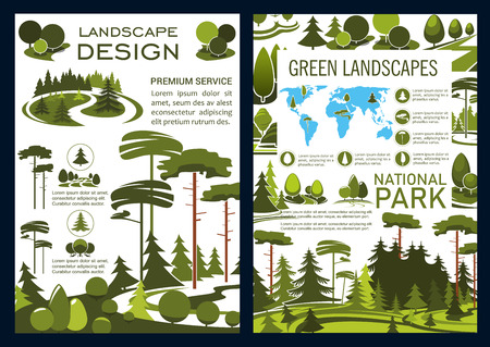 Illustration pour Landscape design and green horticulture service company brochure, park and garden landscaping. Vector forest, parks and garden, trees on world map. Urban ecology gardening and planting - image libre de droit