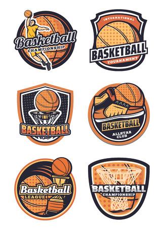 Ilustración de Basketball league, championship or tournament, sport team badges. Vector icons of basketball ball in basket net goal, player and sneakers, victory cup game contest - Imagen libre de derechos