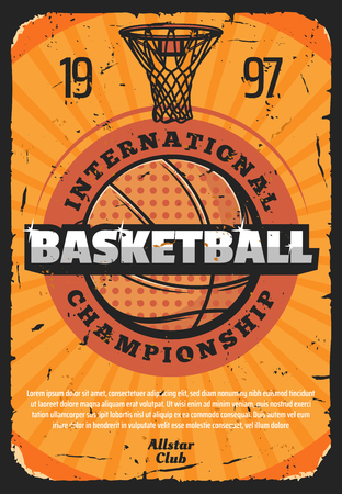 Ilustración de Basketball sport game vector retro poster, basket and heavy ball. Vintage design for international championship or world tournament, team game, invitation or announcement old shabby leaflet - Imagen libre de derechos