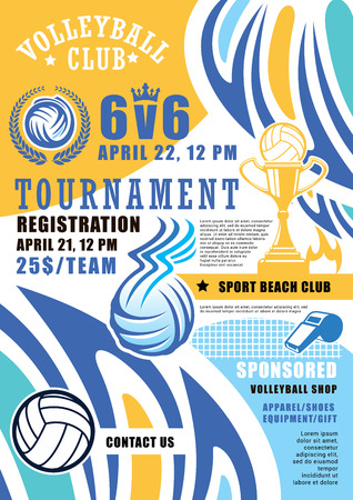 Ilustración de Volleyball game tournament poster. Vector volleyball ball and victory cup with wings and fire flame in laurel, referee whistle. Beach volley sport championship - Imagen libre de derechos