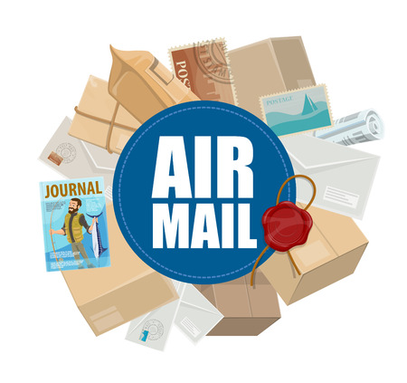 Illustrazione per Airmail, post delivery service and air cargo theme. Letters, parcels and envelopes, postcards, postage stamps and newspapers with postage wax seal - Immagini Royalty Free