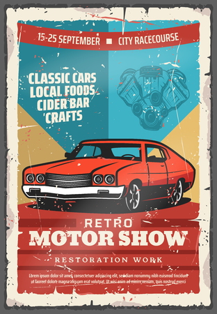 Ilustración de Retro motor show vintage poster with classic car. Old car with vehicle engine parts, retro motor club or racing sport promotion flyer design - Imagen libre de derechos