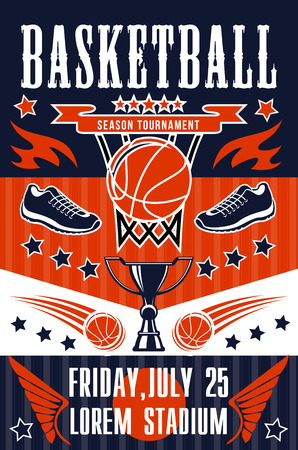 Ilustración de Basketball sport tournament, team game match poster. Basket, orange ball, sport shoes and trophy or winner cup announcement, college league competition or championship vector design - Imagen libre de derechos