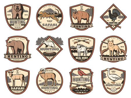 Illustration pour Hunting sport heraldic icons of hunter guns, animals and birds. Deer buck, duck and bear, fox, wolf and ox, goose, bison and antelope, jaguar, pheasant and grouse vector shields with huntsman weapons - image libre de droit