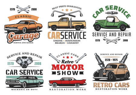 Illustration pour Car repair service, retro motor show and auto mechanic garage icons of vintage vehicle with wrench, spanner, spark plugs and car motor. Symbol, emblem and sign vector - image libre de droit