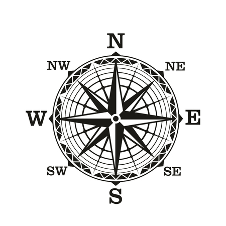 Ilustración de Compass wind rose, vector icon. Old vintage nautical navigation sign with star scale of north, south, east and west directions. Marine travel, adventure, sea discovery or ancient cartography theme - Imagen libre de derechos