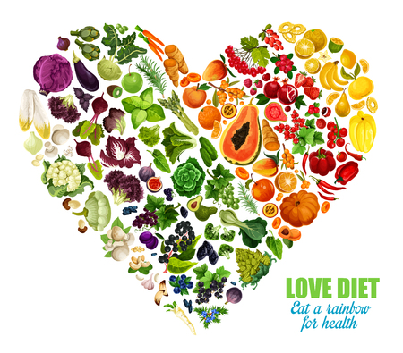 Illustration for Color detox diet of vegetables and fruits, vector heart shape. Motto eat rainbow for health. Benefits of eating groceries, healthy organic food products. Nutrition dieting consumption - Royalty Free Image