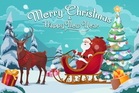 Illustration for Santa Claus on sleigh, Christmas gifts and polar deer in harness. Vector decorated Xmas tree, boxes with bows, winter holiday celebration. Forest and fairy character delivering presents, wild animal - Royalty Free Image