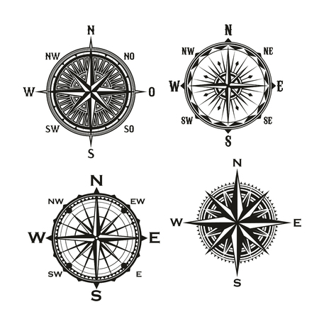 Ilustración de Rose of Winds symbol of nautical navigation compass, marine and seafarer theme. Vector icons of ship sail navigator with direction arrow pointers to East, West or North and South - Imagen libre de derechos
