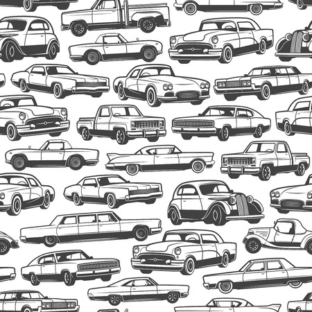 Illustration pour Old car or vintage retro automobile pattern background. Vector seamless design of auto transport limousine or hatchback and pickup truck vehicle or antique collector and veteran auto models - image libre de droit