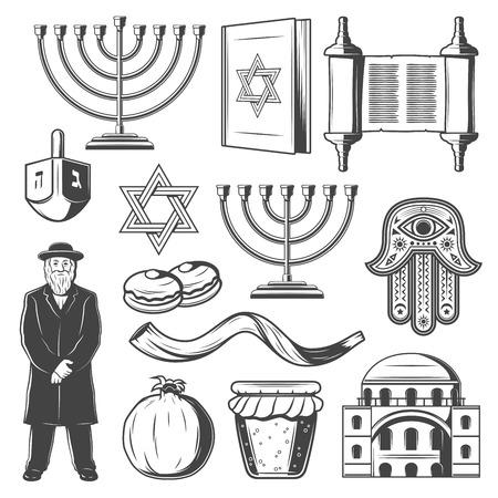 Illustration pour Judaism religious symbols. Vector Jewish religion icons of Hanukkah Menorah Hanukiyot lampstand, David Star or Torah scroll and Shofar horn, dreidel and Jew rabbi priest with hamsa hand amulet - image libre de droit