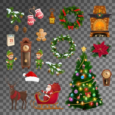 Ilustración de Christmas and New Year celebration vector symbols. Merry Xmas tree, Santa reindeer sleigh with gifts, gnome at eve clock and Christmas wreath, calendar and clock with fireplace, gingerbread cookie - Imagen libre de derechos