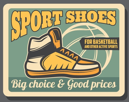 Ilustración de Basketball sportswear shop retro vector poster, sport sneaker shoes. Footwear store with choice of training sneakers. Ball silhouette, leather trainers with laces, high model, active lifestyle boots - Imagen libre de derechos