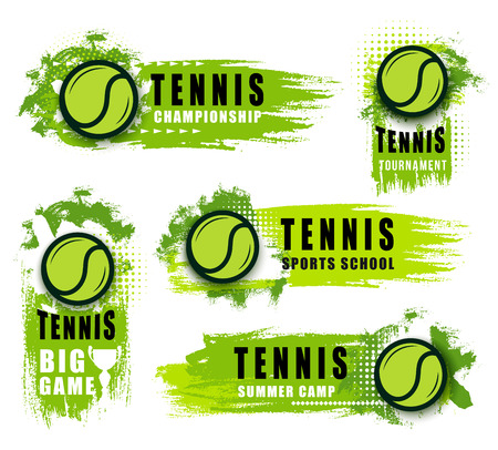 Ilustración de Tennis sport club or championship game vector icons. Vector isolated labels and badges of flying green ball and blobs. Sporting items on tournament announcement, tennis school - Imagen libre de derechos