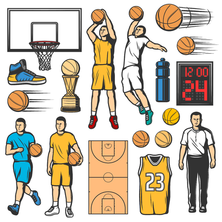 Ilustración de Sport basketball icons, players in uniform with leather ball and game court. Water bottle and scoreboard, shirt with number and trophy cup. Sneaker and basket, sporting items sketch vector - Imagen libre de derechos