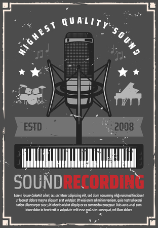 Ilustración de Music studio for sound recording retro poster. Microphone and synthesizer, drum and piano silhouettes on shabby vintage leaflet. Song or melody record, album production and musical instruments vector - Imagen libre de derechos