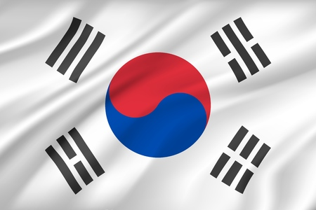 Illustration pour South Korea flag background with cloth texture. Country national symbol of textile or fabric, wind silk cloth with circle and stripes. Political national heraldry for Asian state banner vector - image libre de droit
