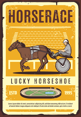 Ilustración de Harness racing equestrian sport, retro vector poster of trotter horse or racehorse with driving harness, sulky cart and jockey on hippodrome track. Horse Racing competition, gambling - Imagen libre de derechos