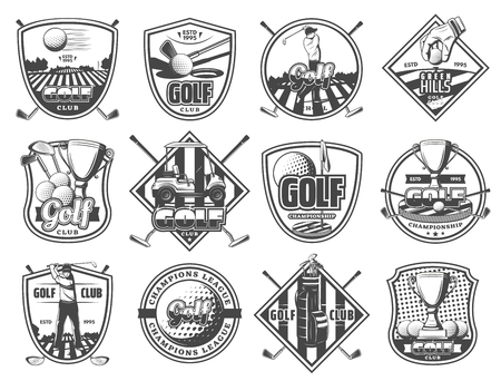 Ilustración de Golf club sport champioship icons. Vector herlaldic emblems and badges of golf equipment, ball and club or vicotry cup award and cart on tee course - Imagen libre de derechos