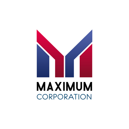 Illustration for Letter M icon for business corporation or commercial banking industry and marketing company. Vector geometric letter M for advertising and promotion group or financial consulting and development - Royalty Free Image