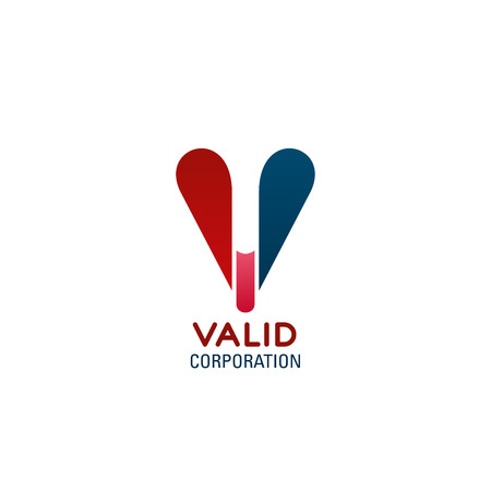 Illustration pour Valid corporation vector icon. Red and blue colors creative sign for any business company. Concept of success and positive. Symbol for corporate company, design badge isolated on white background - image libre de droit