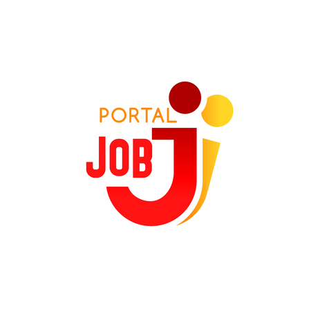 Ilustración de Job portal icon of J letter for recruiting agency sign or web site design. Vector isolated letter J in people shape for professional job recruitment and human resources market - Imagen libre de derechos
