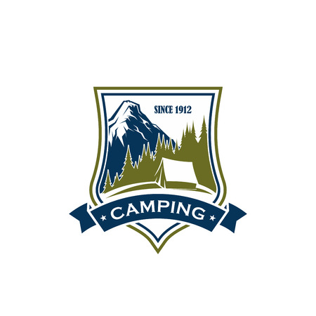 Ilustración de Summer camping vector sign. Concept of recreation outdoor, nature and forest. Tourism in mountains camping emblem. Outdoor activity symbol with mountain landscape, isolated on white background - Imagen libre de derechos