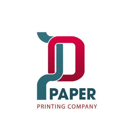 Illustration for Paper printing company symbol for business card template. Abstract letter P, composed of red and gray geometric shapes. Corporate identity font for printing service and typography emblem design - Royalty Free Image
