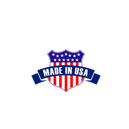 Illustration pour Vector badge made in USA in shape of shield isolated on a white background. Creative emblem in patriotic colors of United States. Concept of export products manufactured in USA, symbol of quality - image libre de droit