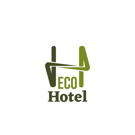 Illustrazione per Eco hotel vector icon isolated on white background. Conceptual icon for hotels, cottages or eco friendly smart houses. Vector sign for wooden housing business or eco village resort - Immagini Royalty Free