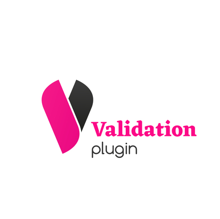 Illustration pour Validation plugin vector icon isolated on a white background. Creative badge in black and pink colors for check confirm program. Concept of test of programs and checklist - image libre de droit