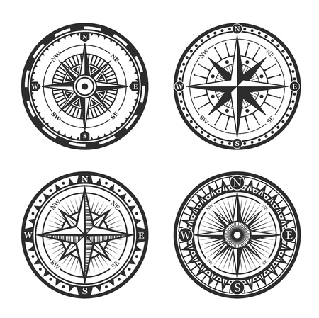 Ilustración de Vintage nautical compass roses or windroses with star shaped map pointers of North, East, South and West wind directions. Marine navigation, navy heraldry and sea travel vector signs design - Imagen libre de derechos