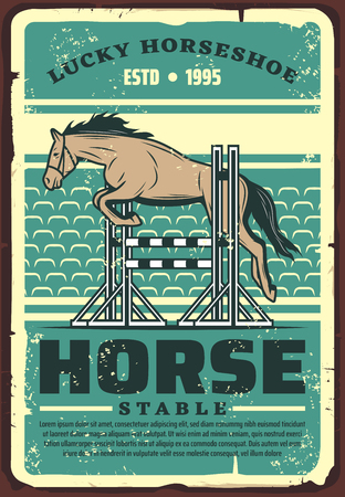 Ilustración de Equestrian sport dressage show jumping retro poster with horse leaping over fence on outdoor arena or hippodrome. Riding club, horse racing and equestrian competition event vector design - Imagen libre de derechos
