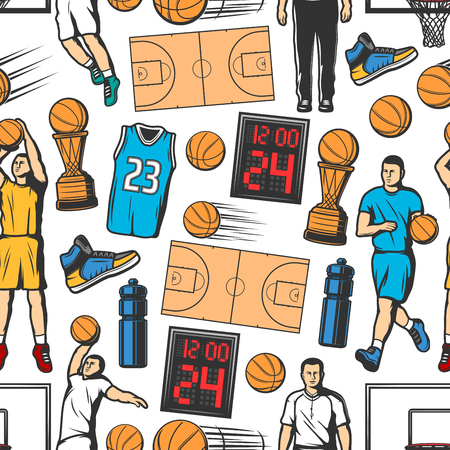 Ilustración de Basketball seamless pattern background with players and sport items. Orange ball, winner trophy cup and court, basket hoop, scoreboard, uniform jersey and sneakers. Sporting backdrop vector design - Imagen libre de derechos