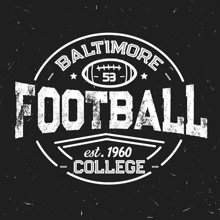 Ilustración de Football team retro shabby icon of baltimore college. Sport club with leather oval ball white outline. Sporting vintage monochrome stamp with item for game, students league vector isolated sign - Imagen libre de derechos