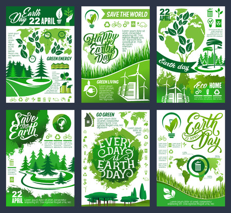 Ilustración de Earth Day eco banner of Save Planet and Go Green concept. Ecology and environment protection, recycling and nature conservation poster with green tree, leaf and globe, world map and eco symbol - Imagen libre de derechos