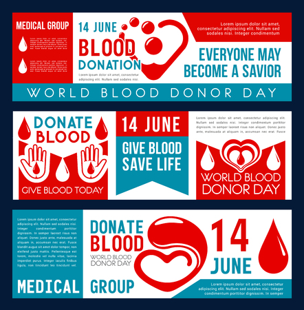 Illustration pour Blood donation and Donor Day banners for social responsibility and 14 June charity action event. Vector flat design of heart and blood drop for World Donation day and volunteering center - image libre de droit