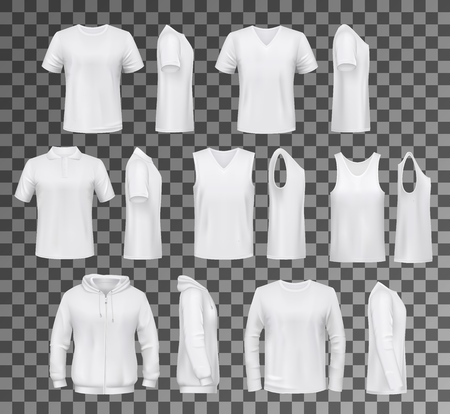 Illustration for T-shirt templates, hoodie and sweatshirt, polo and singlet or sleeveless shirt. Vector male clothes white mockups, casual garments design. Everyday mens outfits or apparels isolated on transparent - Royalty Free Image