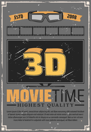 Illustration pour Cinema theater, movie time, TV set large screen and 3D effect glasses. Vector motion picture projection festival. Film night, media entertainment and cinematography industry, action or comedy, drama - image libre de droit