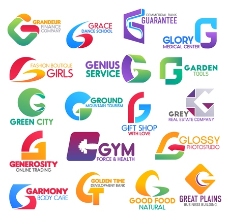 Ilustración de Corporate identity letter G business icons. Vector finance and hobby, banking and medicine, fashion and gardening, ecology, travel and shopping. Estate, trading and sport, photography and beauty, food - Imagen libre de derechos