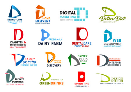 Ilustración de Corporate identity letter D business icons. Vector hobby and delivery, marketing and nutrition, medicine and food, dentistry and developement. Science and transport, design and investigation, drink - Imagen libre de derechos